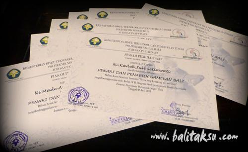 Tunas Maragawi Piagam Penghargaan